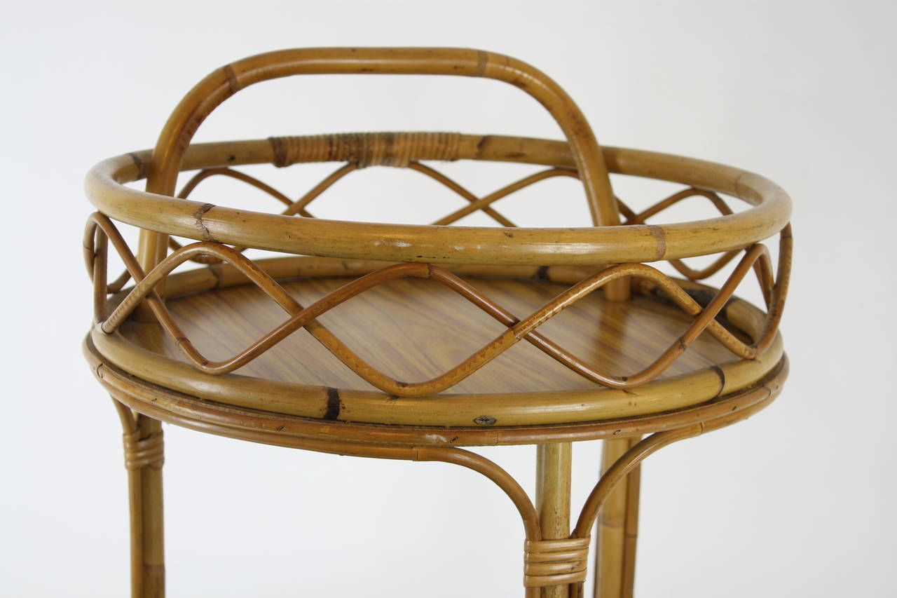 Mid-20th Century Spanish Round Bamboo Bar Cart For Sale
