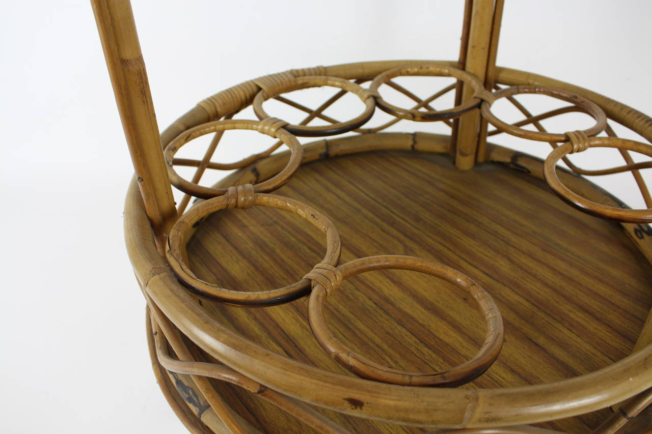 Mid-Century Modern Spanish Round Bamboo Bar Cart For Sale