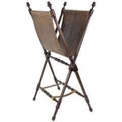 Folding Leather and Wood Newspaper Rack