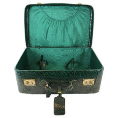Vintage Green Python Luxury Suitcase