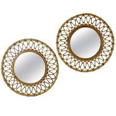 Pair of Spanish Bamboo and Wicker Midcentury Circular Mirrors