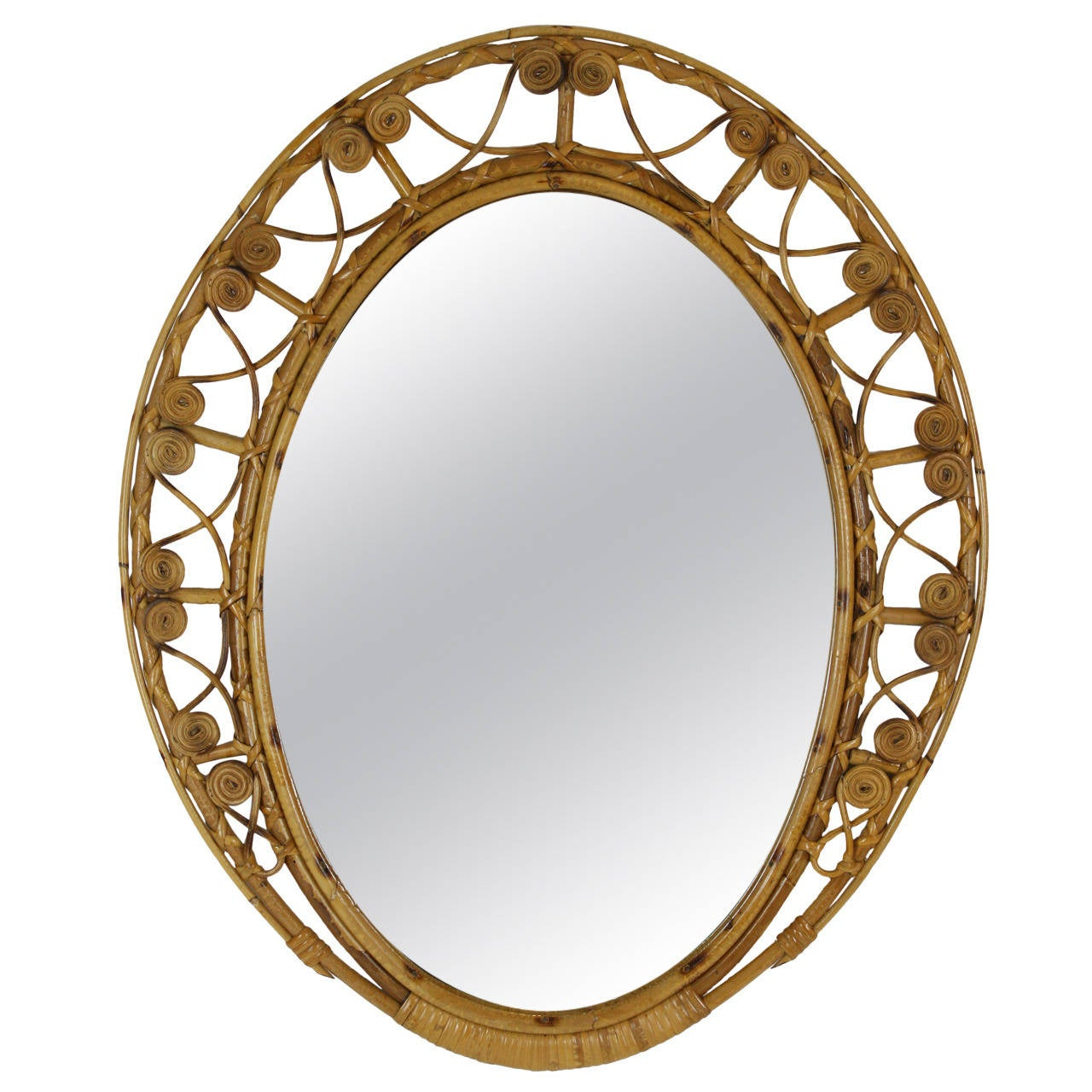 spanish 1950s bamboo and wicker oval mirror with filigree frame 1