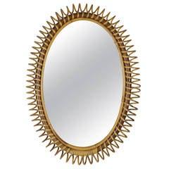 Italian Riviera Bamboo and Rattan Oval Mirror