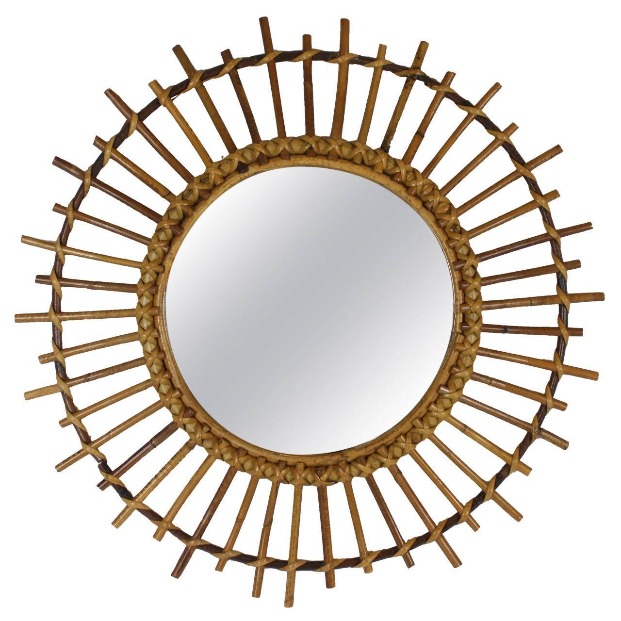 1960s spanish rattan sunburst mirror at 1stdibs for Sunburst mirror