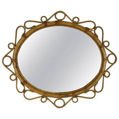 Spanish Bamboo and Wicker Oval Flowerburst Mirror