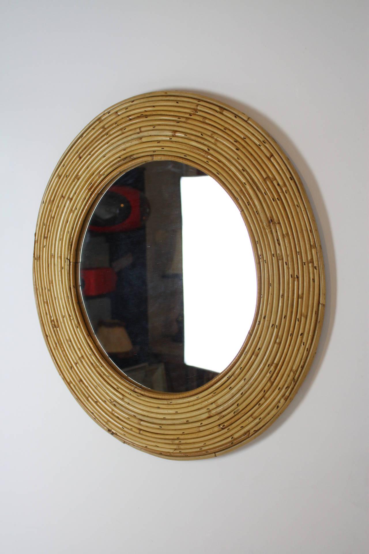 Spanish Wicker Cane Circular Mirror At 1stdibs