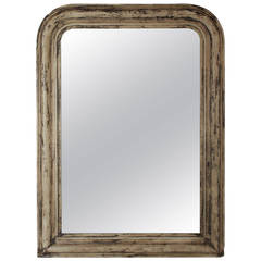 Antique Louis Philippe Mirror in Beige and Black Patina