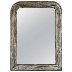 French 19th Century Louis Philippe Mirror in Grey and White Patina.