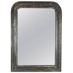 Antique Louis Philippe silver leaf mirror with grey patina