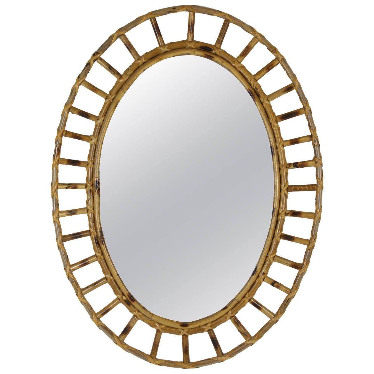 Spanish bamboo oval sunburst mirror for sale at 1stdibs for Sunburst mirror