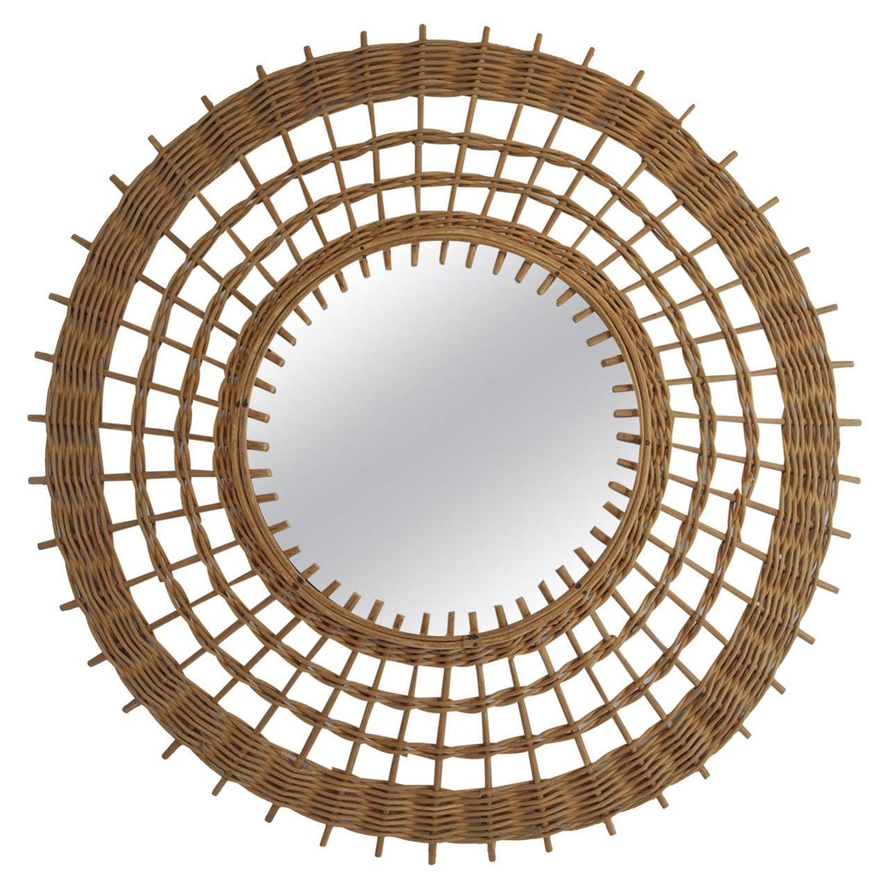 Wicker sunburst mirror at 1stdibs for Sunburst mirror
