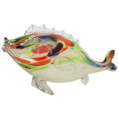 1950's Giant Colorful Murano Hand Blown Glass Fish Sculpture