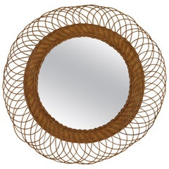 French Riviera Flower Burst Sunburst Woven Wicker Mirror