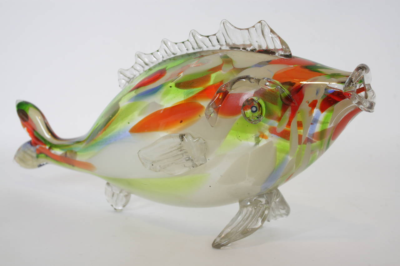 1950 39 s giant colorful murano hand blown glass fish for Blown glass fish