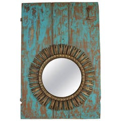 Spanish Giltwood Sunburst Mirror Framed by a Turquoise 19th Century Door