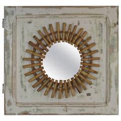 Mid-Century Bamboo Sunburst Mirror Framed on an Antique Door