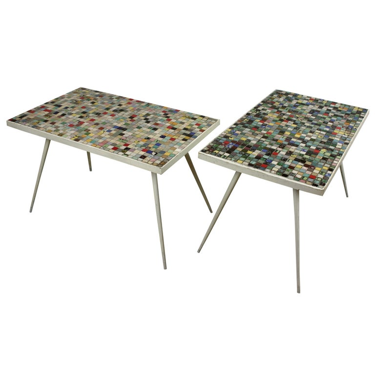 Superb Two Mid Century Modern Multicolored Ceramic Tiles Mosaic Coffee Tables Ocoug Best Dining Table And Chair Ideas Images Ocougorg