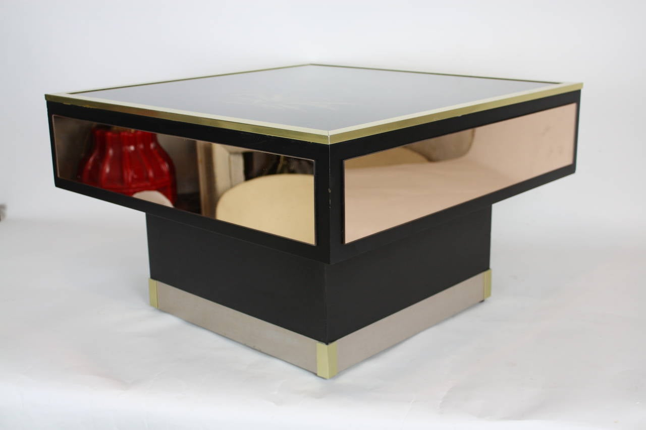 Mid Century Modern Mirrores Coffee Table In The Style Of Willy Rizzo For Sale At 1stdibs