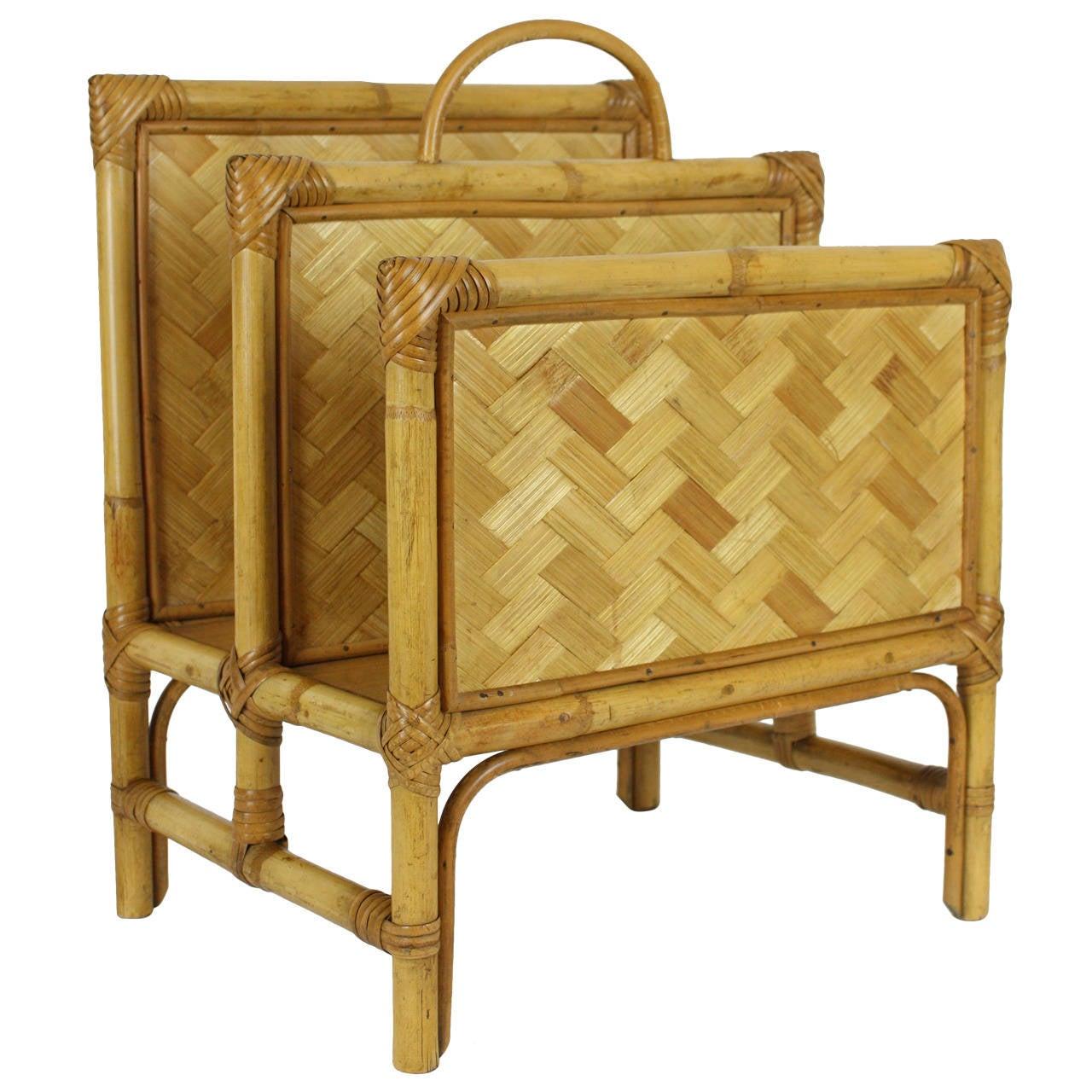 Towel Rack In Spanish: Spanish Mid-20th Century Woven Bamboo Magazine Rack For