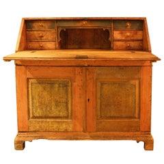 19th Century Swedish Gustavian Pine Wood Secretaire with Folding Table