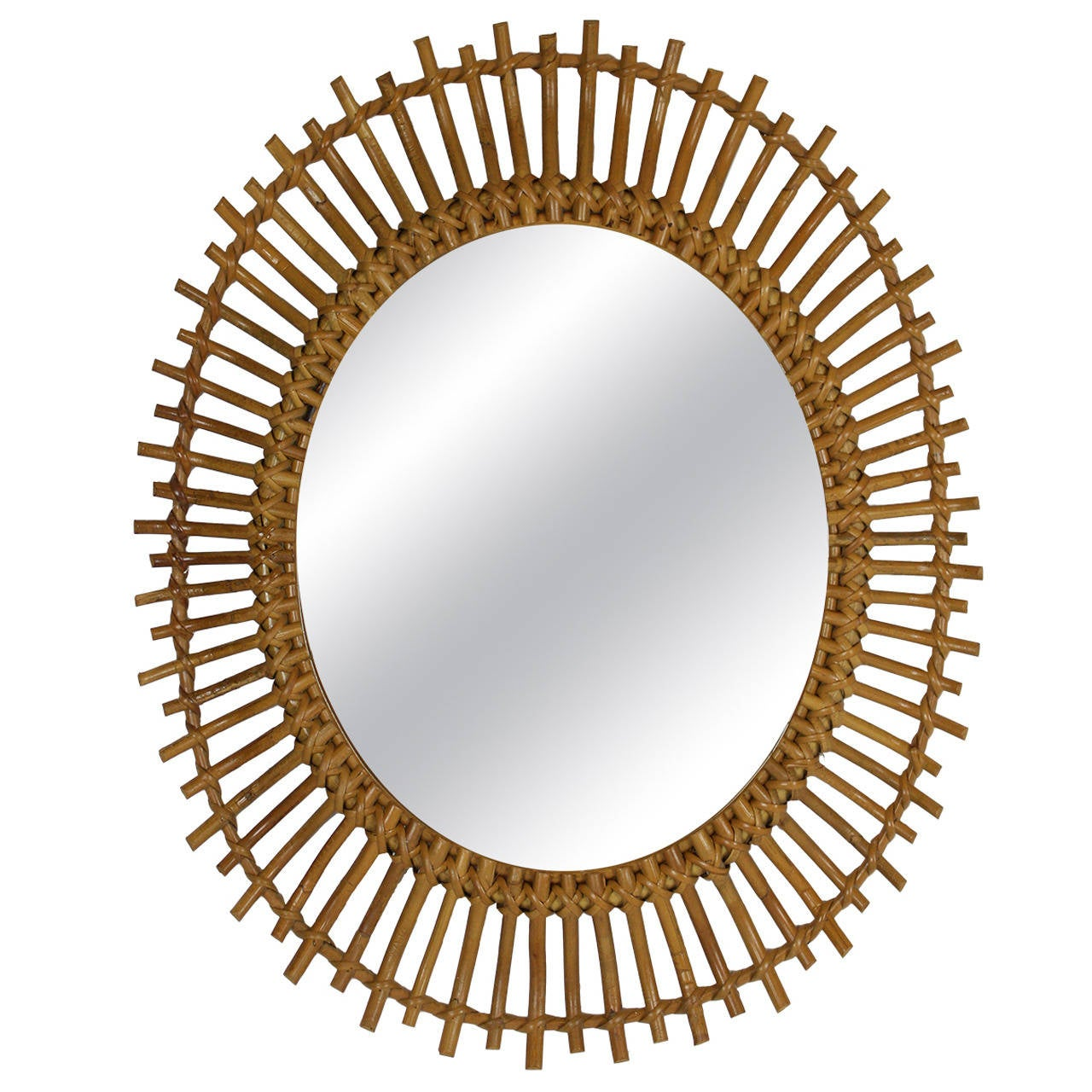bamboo and rattan sunburst oval mirror at 1stdibs