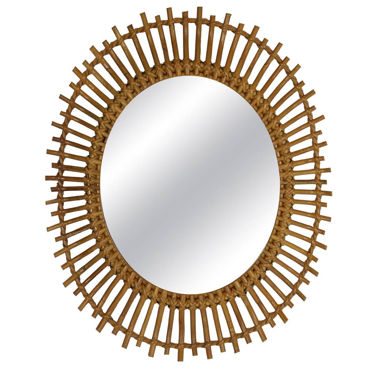Bamboo And Rattan Sunburst Oval Mirror At 1stdibs