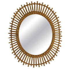Bamboo and Rattan Sunburst Oval Mirror