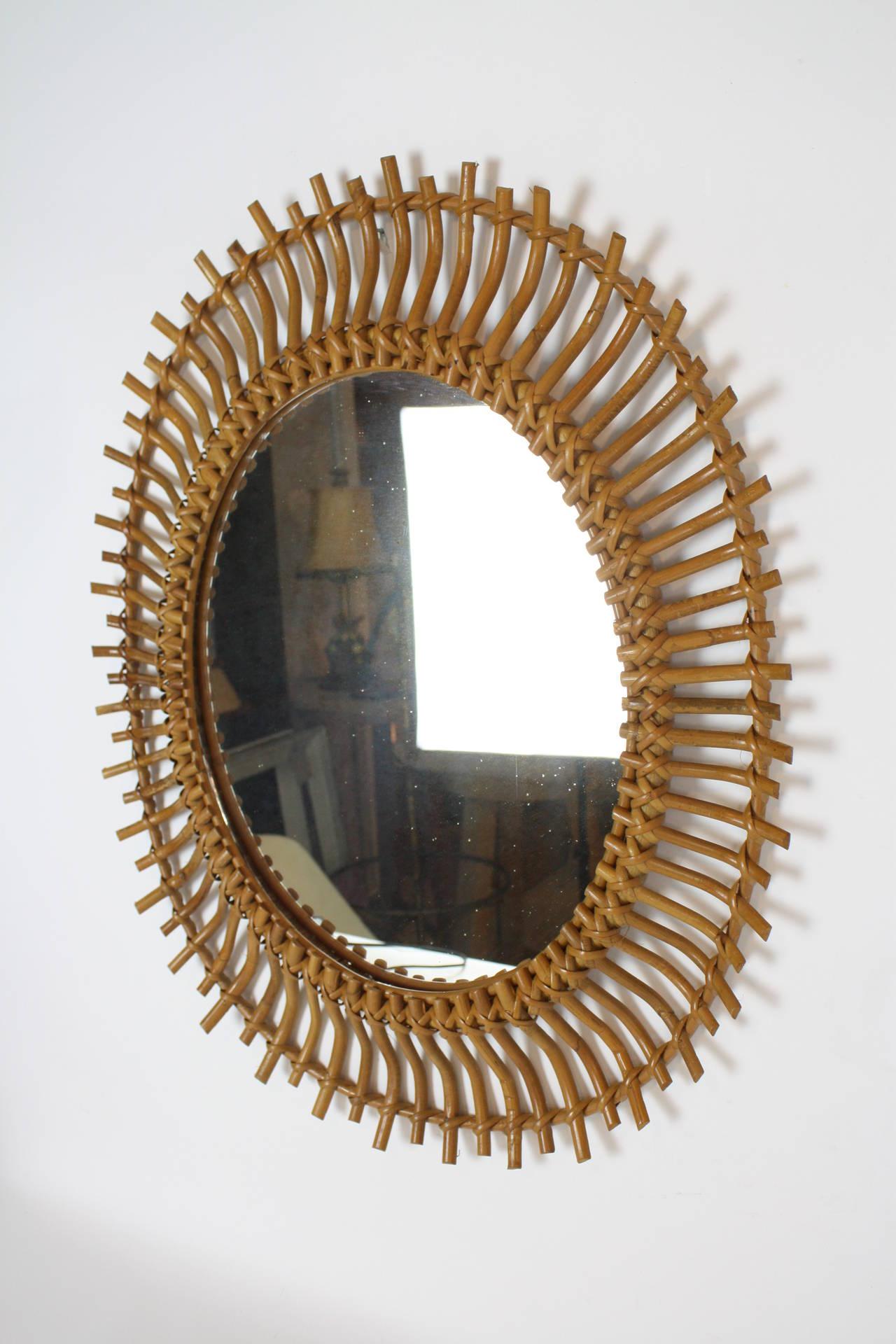 Bamboo and rattan sunburst oval mirror at 1stdibs for Sunburst mirror