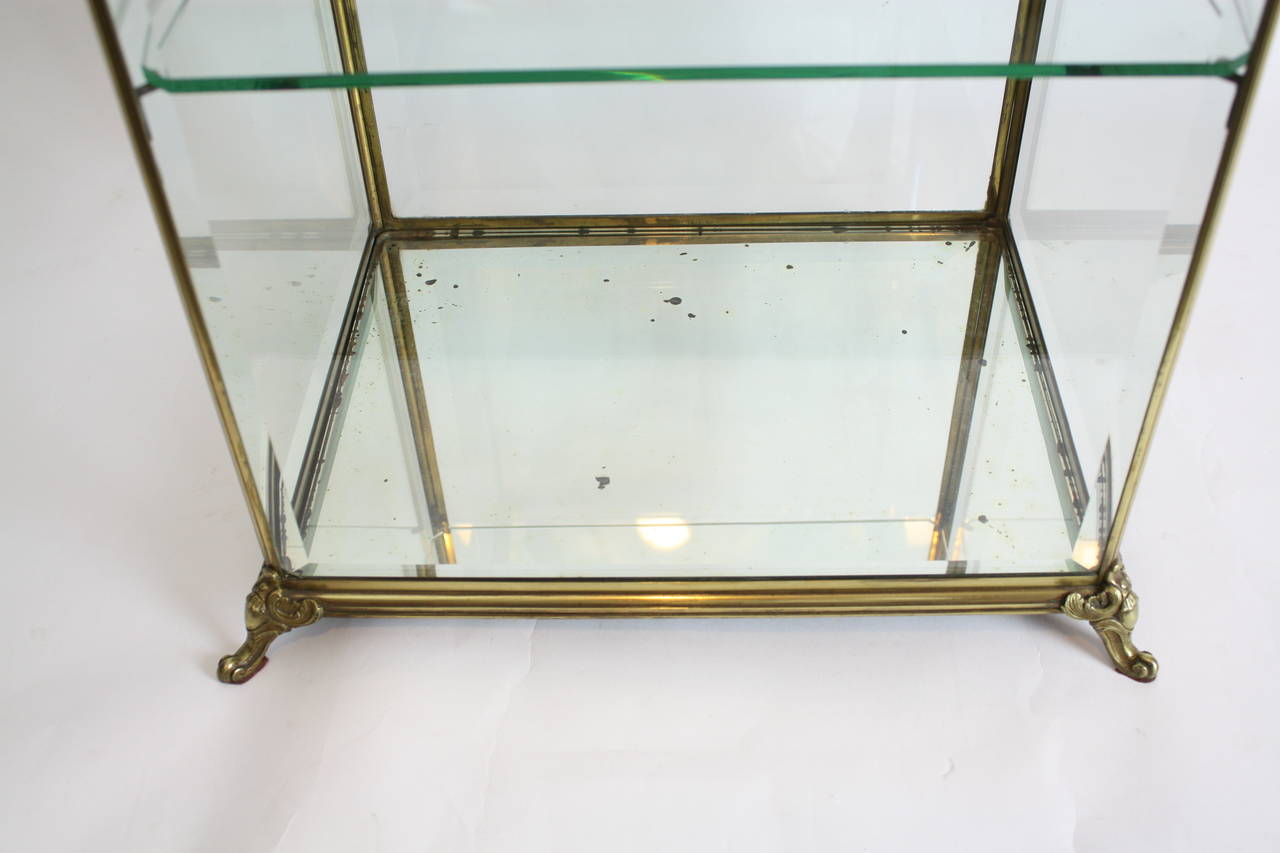 Louis XV Style Bronze and Beveled Glass Jewelry or Cakes Showcase / Vitrine For Sale 2