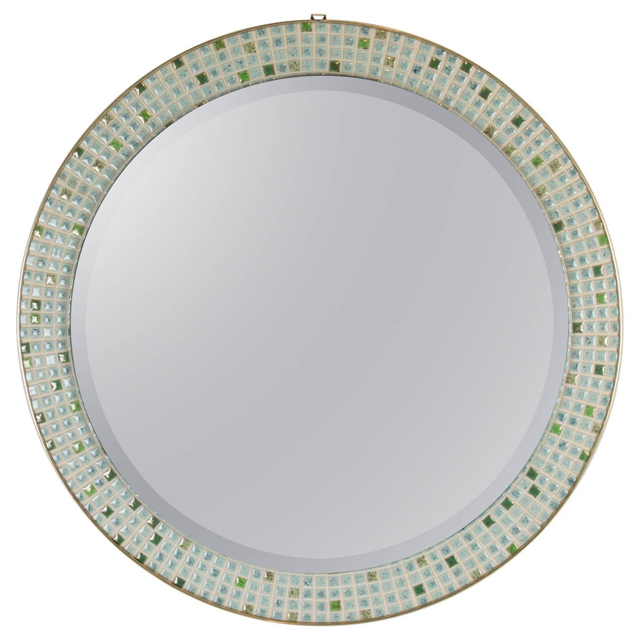 Mid-Century Modern Pastel Colors Ceramic Mosaic Circular Mirror, Spain, 1960s For Sale