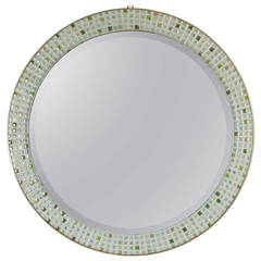 Spanish Mid-Century Mosaic Circular Mirror in Pastel Colors
