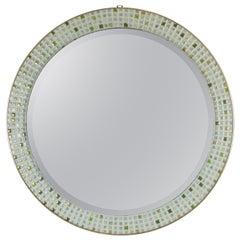 Mid-Century Modern Pastel Colors Ceramic Mosaic Circular Mirror, Spain, 1960s