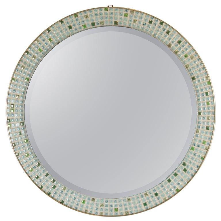 Mid-Century Modern Pastel Colors Ceramic Mosaic Circular Mirror, Spain, 1960s For Sale