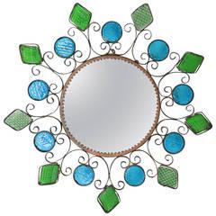 Spanish Iron Flower Burst Illuminated Mirror with Blue and Green Glasses