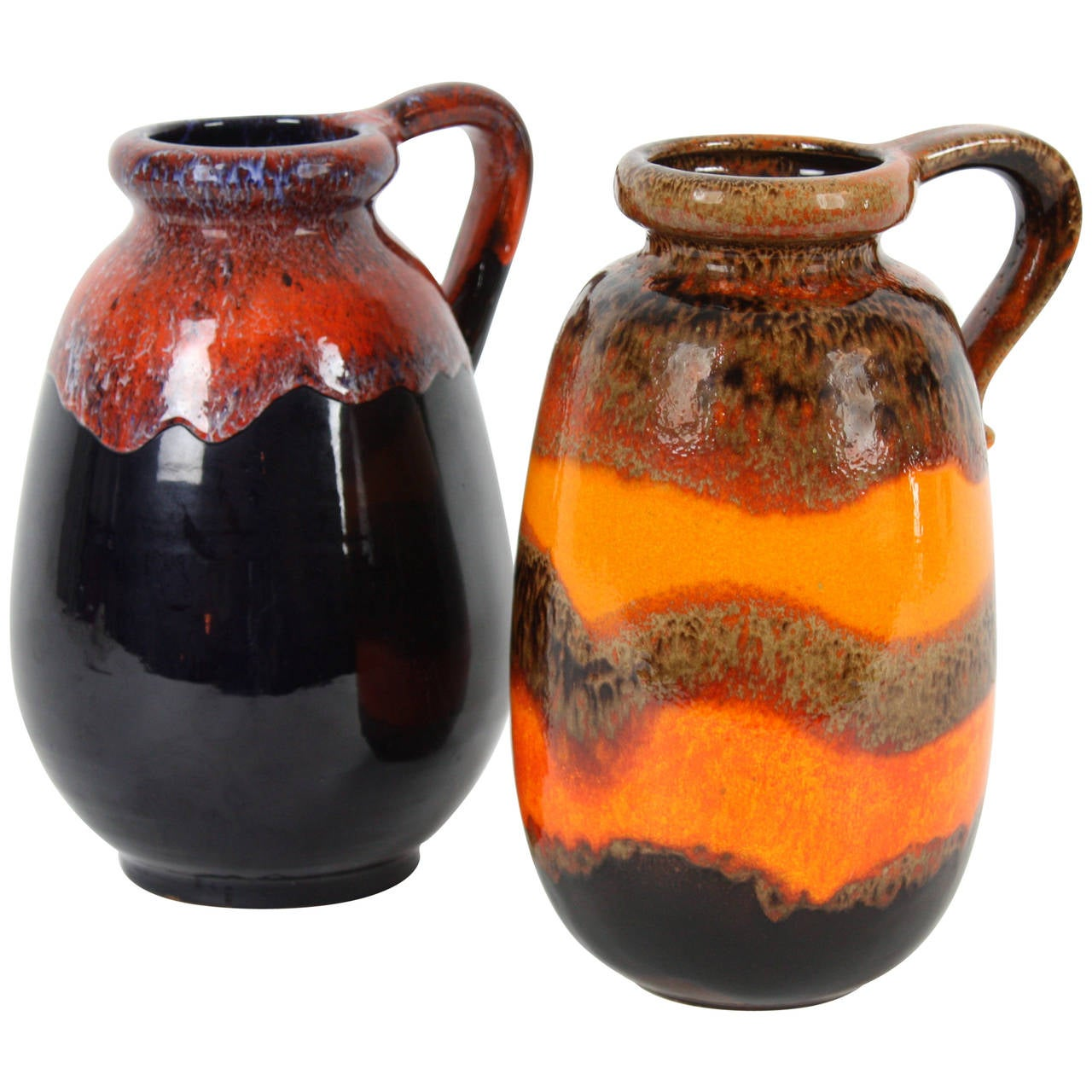 Duo of fat lava west germany pottery vases in vibrant orange and duo of fat lava west germany pottery vases in vibrant orange and dark colors for sale reviewsmspy