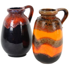 Duo of Fat Lava West Germany Pottery Vases in Vibrant  Orange and Dark Colors