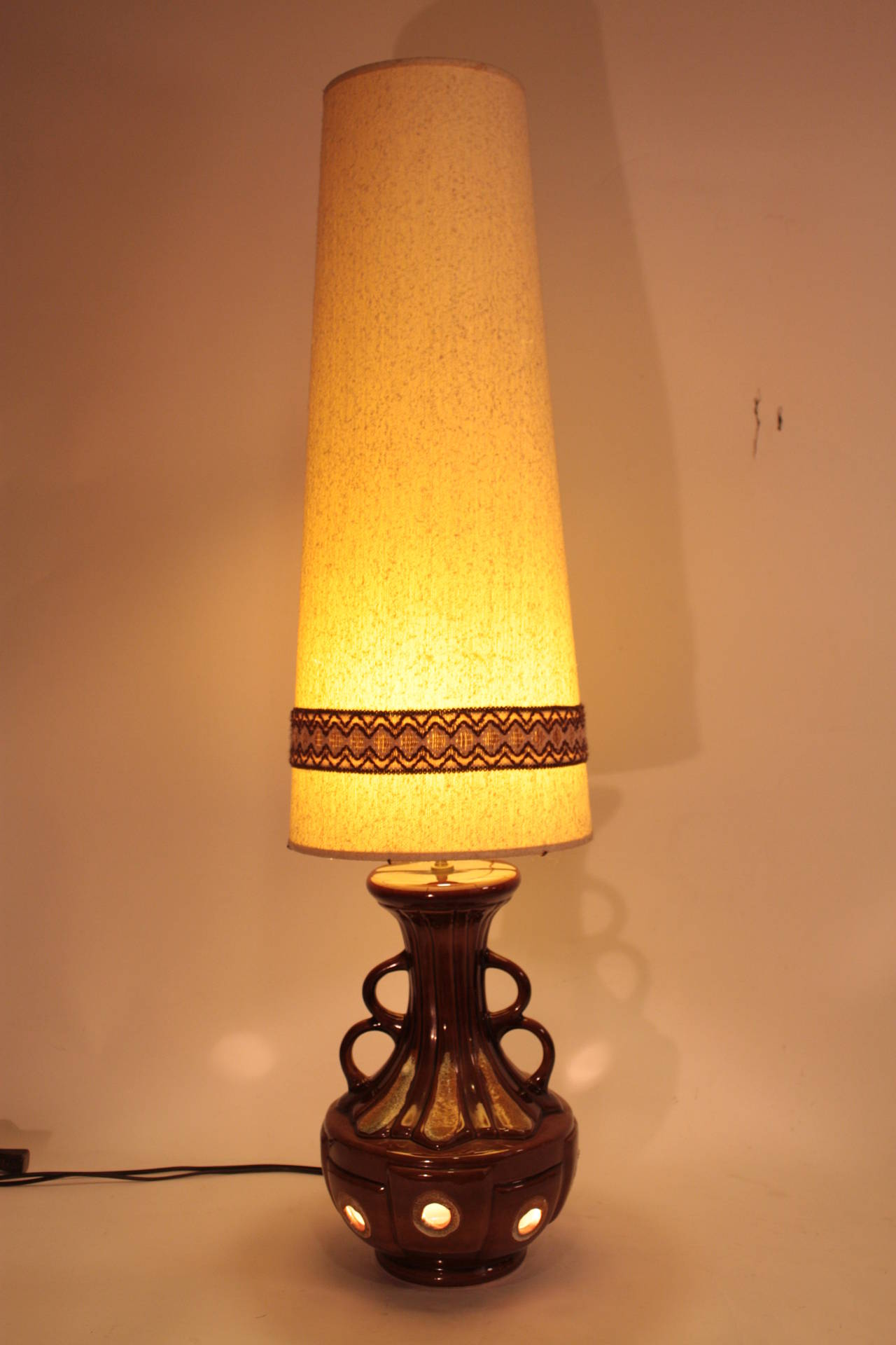 Massive Mid Century Fat Lava Pottery Table Lamp With