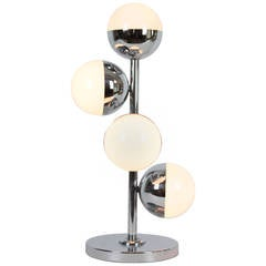 Stilnovo Style Chrome and Opaline  Glass Globes Table Lamp