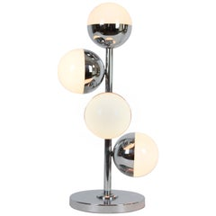 Italian Midcentury Stilnovo Style Chrome Table Lamp with Opaline Glass Globes