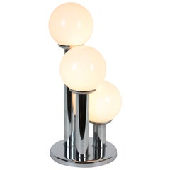French Mid-century Modern Three Column Chrome and Glass Table Lamp