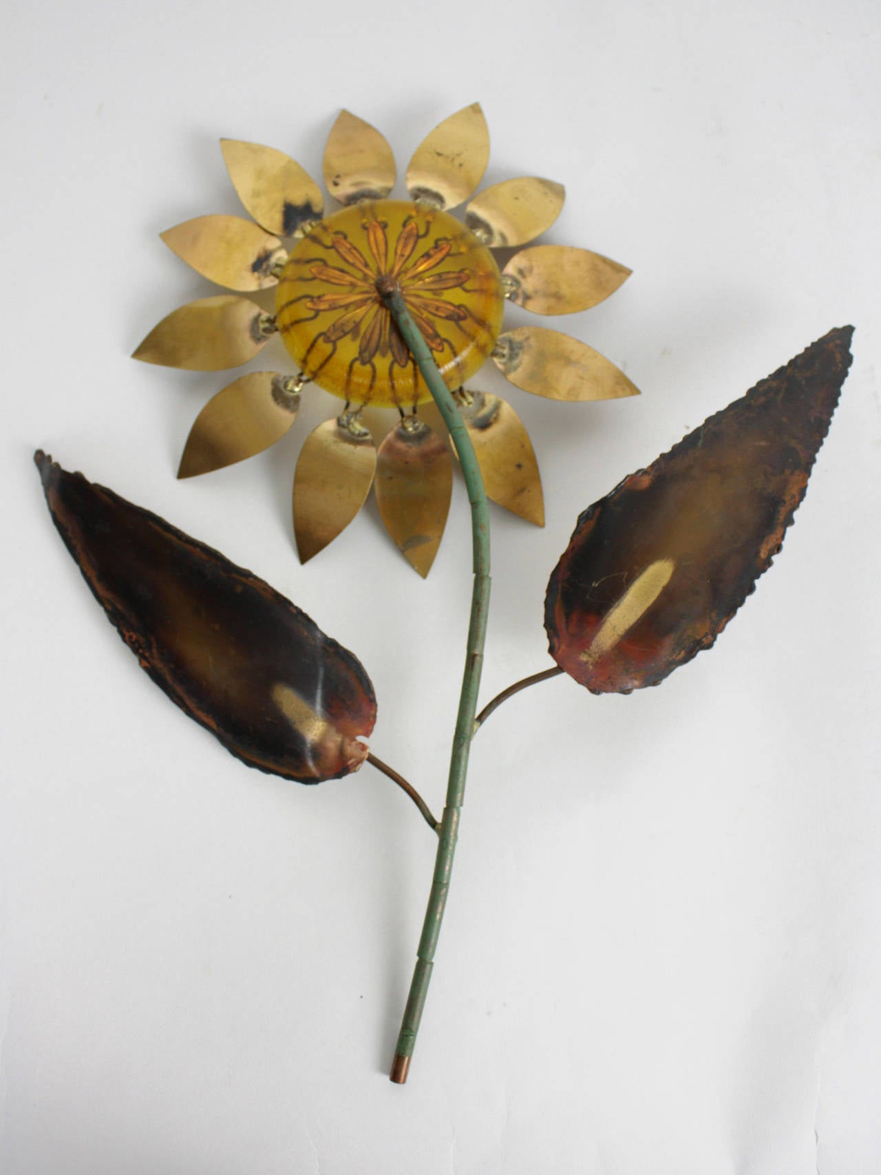American Signed Curtis Jere Brass and Amber Resin Flower Wall Sculpture, 1969 For Sale