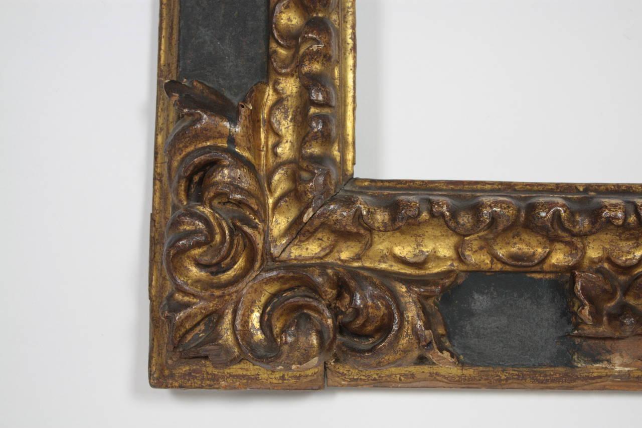Gesso 17th Century Spanish Baroque Polychromed Carved Wood Gold Leaf Frame For Sale