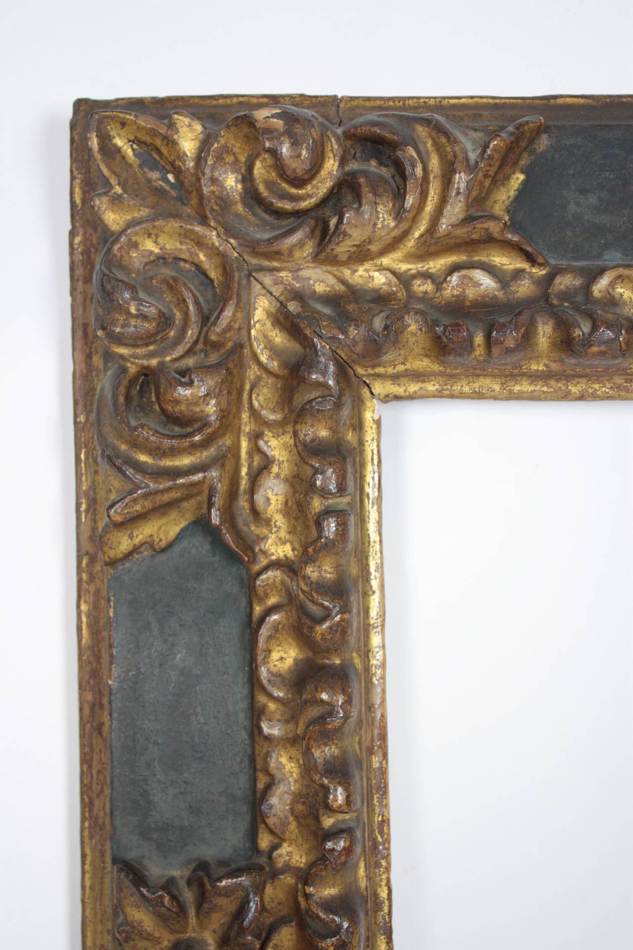 17th Century Spanish Baroque Polychromed Carved Wood Gold Leaf Frame For Sale 3