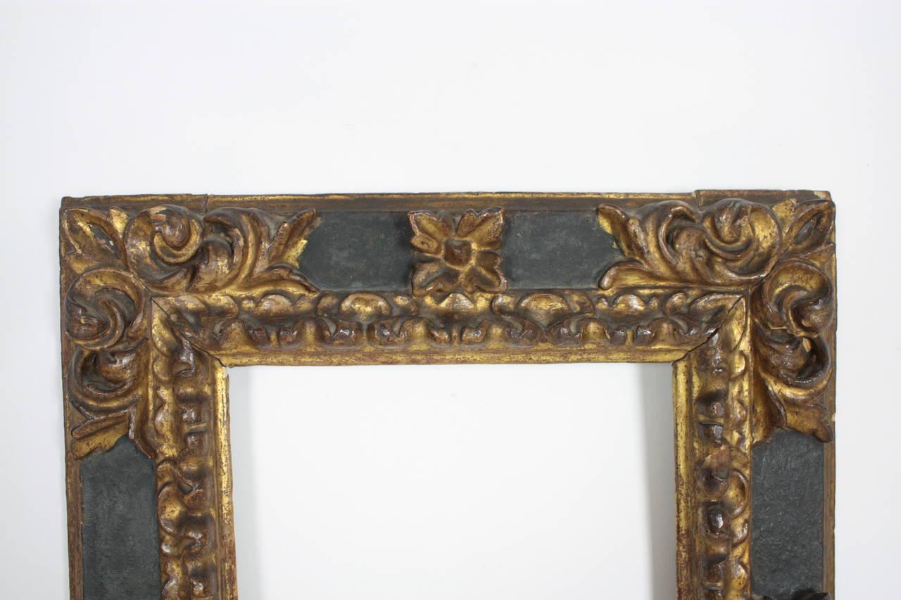 17th Century Spanish Baroque Polychromed Carved Wood Gold Leaf Frame