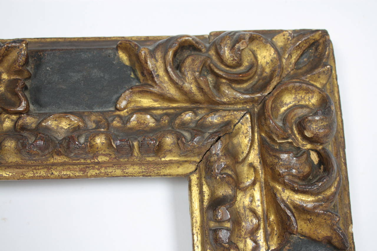 17th Century Spanish Baroque Polychromed Carved Wood Gold Leaf Frame ...