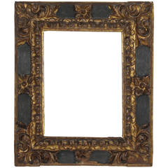 17th Century Spanish Baroque Polychromed Carved Wood Gold Leaf Frame