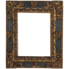 Spanish 17th Century Baroque Polychromed Carved Wood Gold Leaf Frame