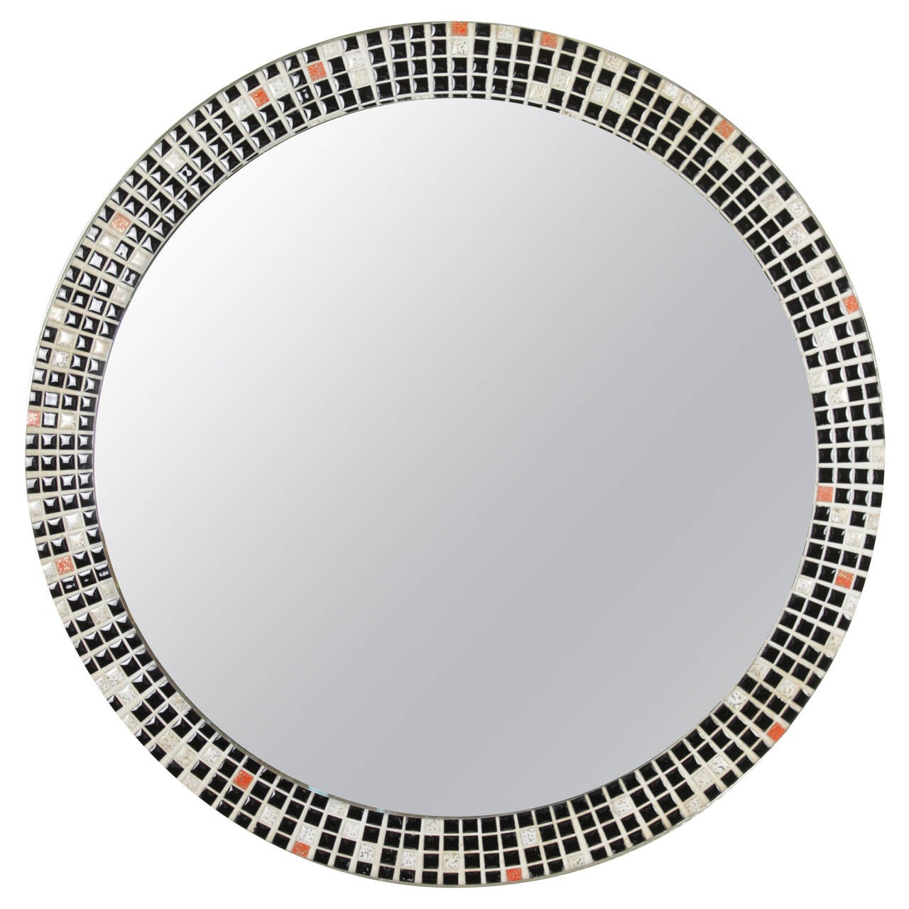 Mid Century Black and White Mosaic Circular Mirror For Sale