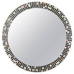 Mid Century Black and White Mosaic Circular Mirror