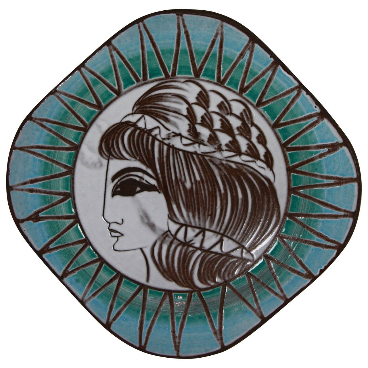 West German 1950s Greek Goddess Ceramic Plate